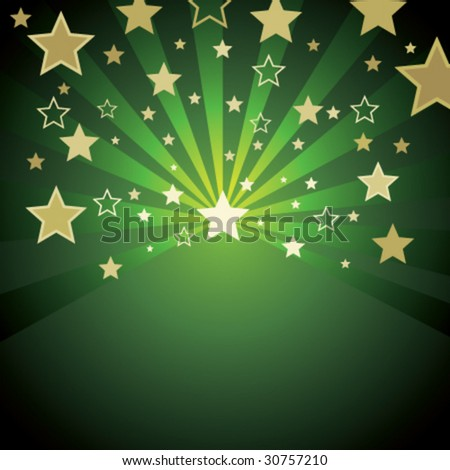 green background with gold stars - stock vector