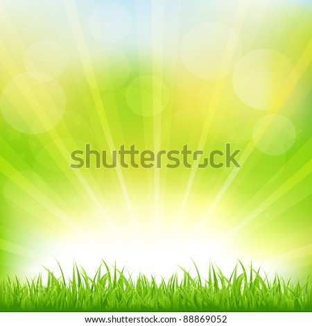 Green Background With Green Grass And Sunburst, Vector Illustration - stock vector