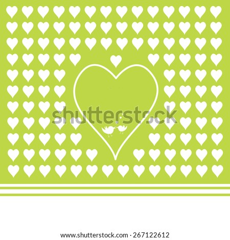 green background with heart shapes and love birds - stock vector