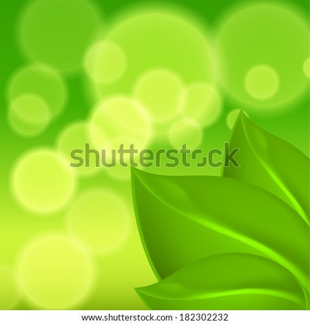 Green background with leaves. EPS10 vector.