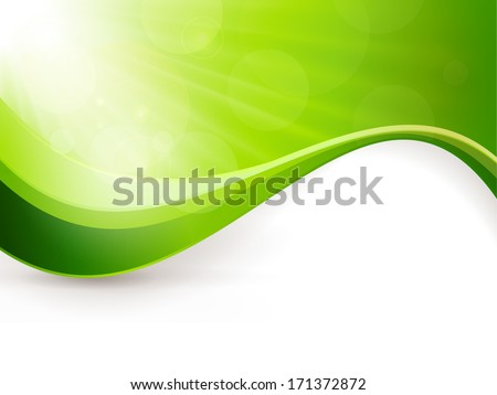 Green background with light burst, lens flare effects and a wave pattern. Great backdrop for any spring season theme. Copy space. - stock vector