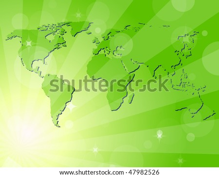 Green background with map of the world - stock vector