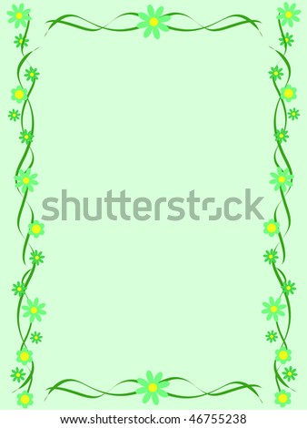 Green background with ornament made of flowers