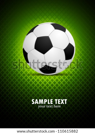 Green background with soccer ball - stock vector