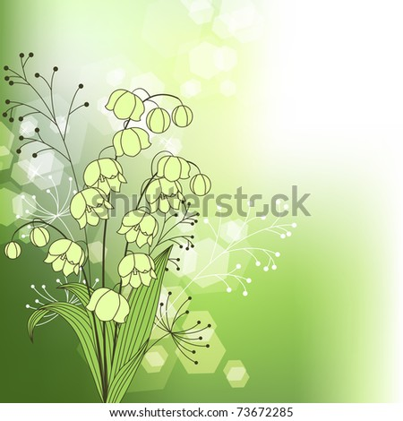Green background with spring flowers and plants - stock vector
