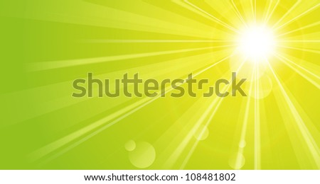 Green background with sunshine - stock vector