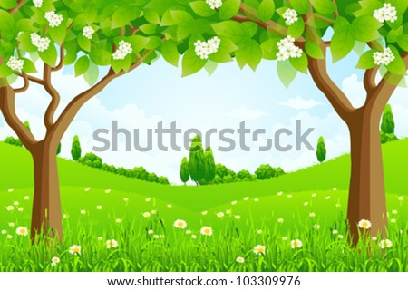 Green Background with Trees Flowers and Hills - stock vector