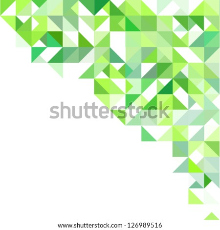 Green background with triangles and squares - stock vector