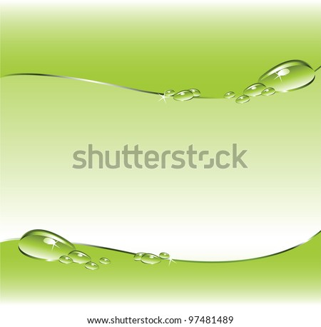 Green background with water droplets. - stock vector