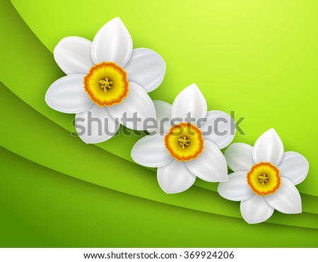 Green Background with white spring flower, vector illustration - stock vector