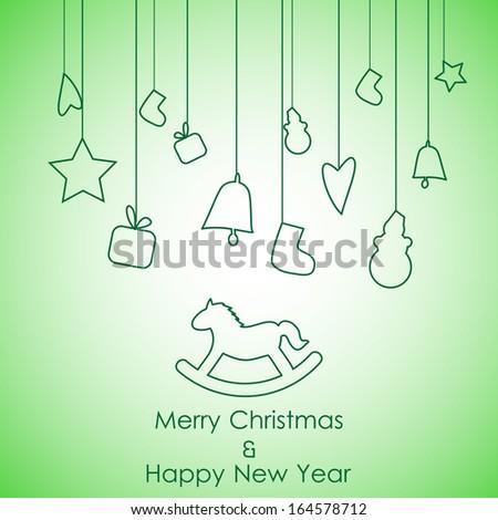 green backround christmas  icon gift - stock vector