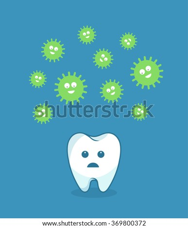 Green bacteria attacking white tooth - vector illustration - stock vector