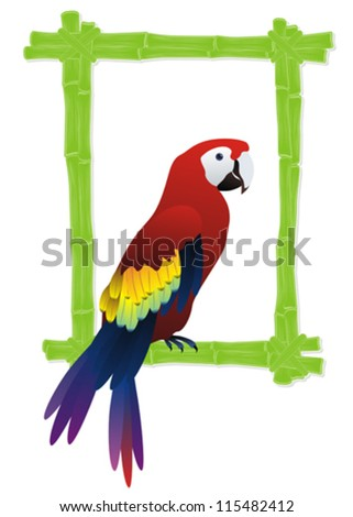 green bamboo frame with tropical bird parrot inside - stock vector