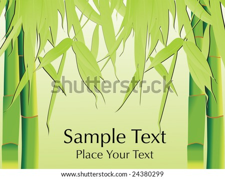 green bamboo with its leaf, vector wallpaper - stock vector