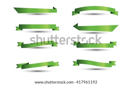 Green Banner ribbon vector set isolated background - stock vector