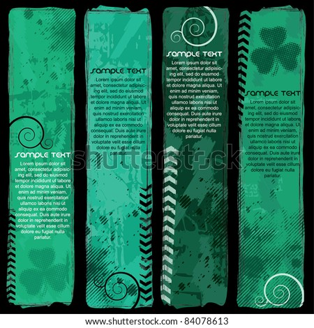 Green banner set - stock vector