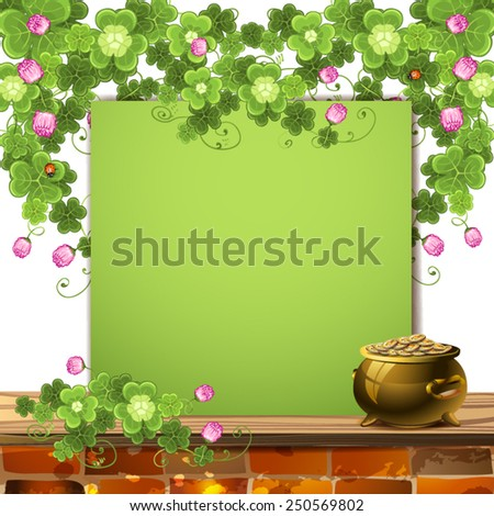 Green banner with clover, and pot of gold - stock vector