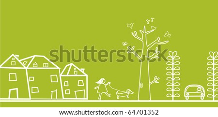 green banner with houses and trees - stock vector