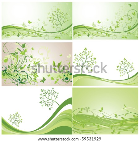 Green banners - stock vector