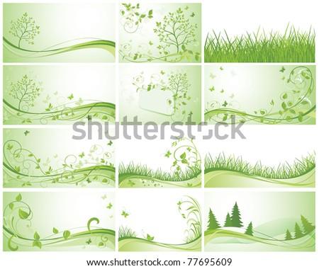 Green banners - stock vector
