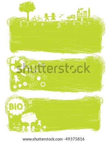 green banners with environment and ecology elements - stock vector