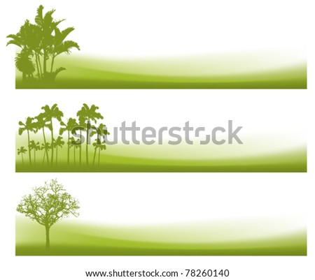 green banners with waves and trees