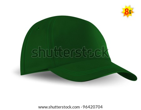 Green Baseball Cap template. Mesh & gradients only. - stock vector