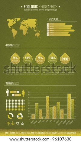 Green based ecologic infographic element for the web and print usage - stock vector