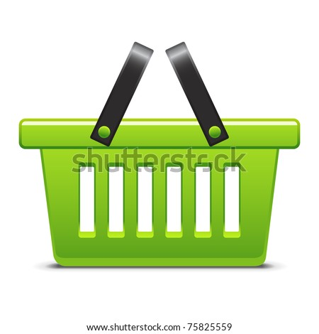 Green basket - stock vector
