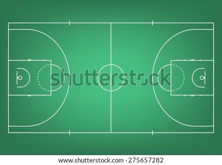 Green basketball court - top view. Vector EPS10 illustration. - stock vector