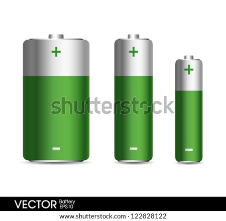 Green Battery set - stock vector