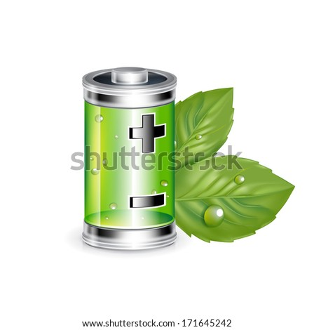 green battery with leaves isolated on white background - stock vector