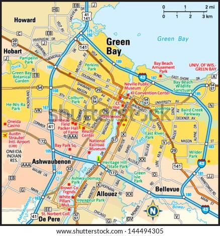 green bay wisconsin area map stock vector shutterstock