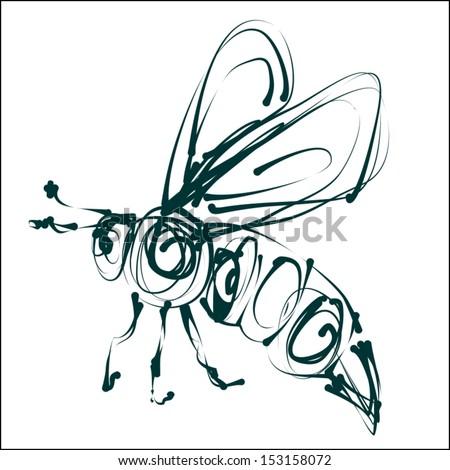 green bee icon vector - stock vector