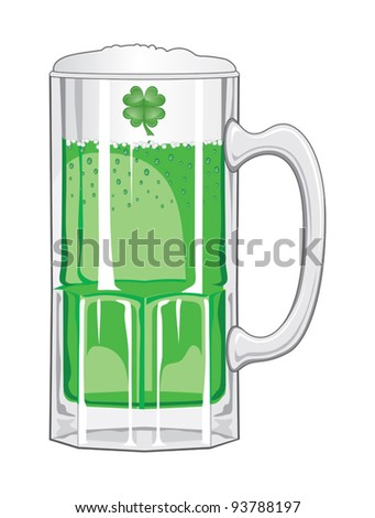 Green Beer is an illustration of a glass mug of green beer foaming and sparkling for St. Patrick's Day. - stock vector