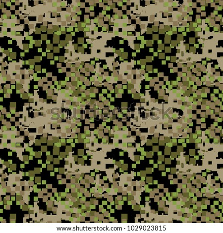 Green Beige And Khaki Digital Camouflage Is A Colorful Seamless Pixel Pattern That Can Be
