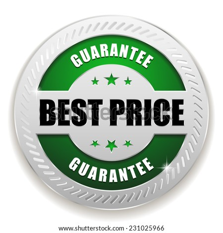 Green best price badge with silver border on white background