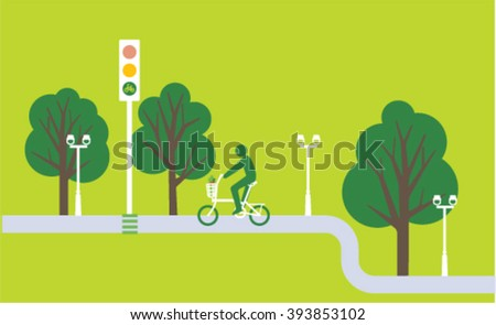 Green bicycle on the traffic lights. Vector illustration. Cyclist in the green city icon.