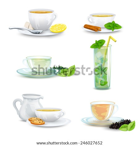 Green black herbal iced tea decorative icon set isolated vector illustration - stock vector