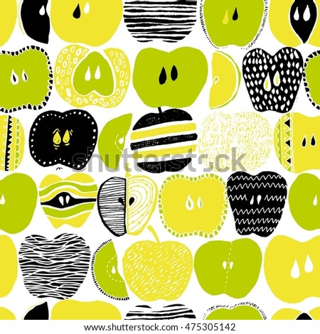 Green, black, white, yellow fun seamless vector pattern with hand drawn apples