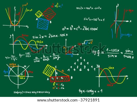 Green blackboard with colored mathematics formula and sketches - vector illustration - stock vector