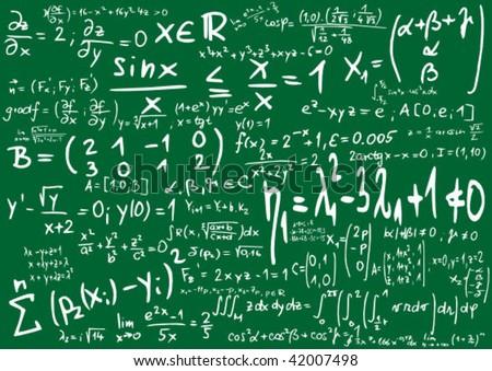 Green blackboard with mathematics formula - vector illustration - stock vector