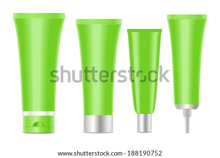 Green blank cosmetic tubes  on white background.  Place for your text. Vector - stock vector