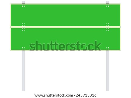 Green blank road sign. Place for any text. Vector.
