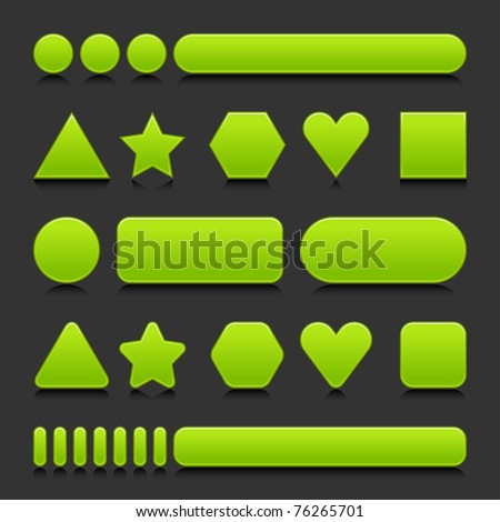 Green blank various forms web 2.0 buttons with black reflection on gray background - stock vector