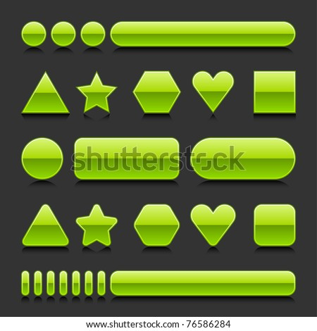 Green blank web 2.0 geometric shape button glossy various form with black reflection on gray background - stock vector