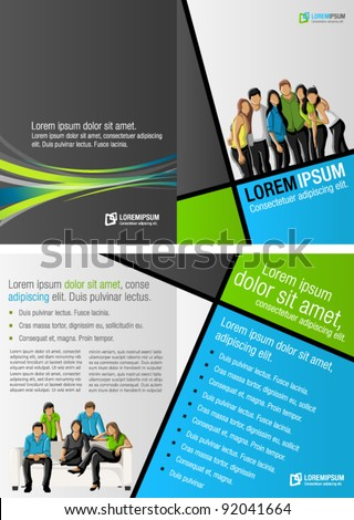 Green, blue and gray template for advertising brochure with business people - stock vector
