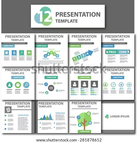 Green, Blue Business Presentation Template Brochure Flyer Design Set - stock vector