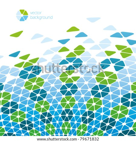 green blue cool cells - vector background - stock vector