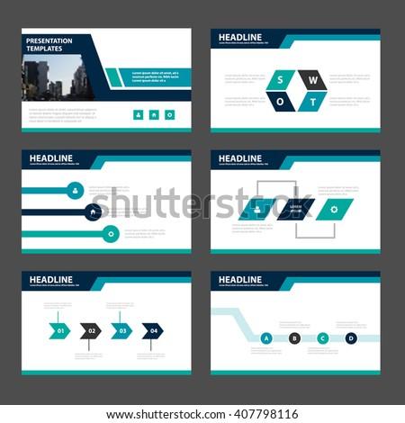 Green blue presentation templates Infographic elements flat design set for brochure flyer leaflet marketing advertising - stock vector